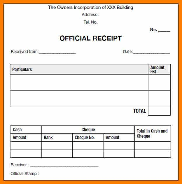Sample Official Receipt - Resume Templates