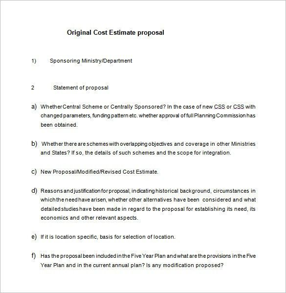 Cost Proposal Template – 11+ Free Sample, Example, Format Download ...