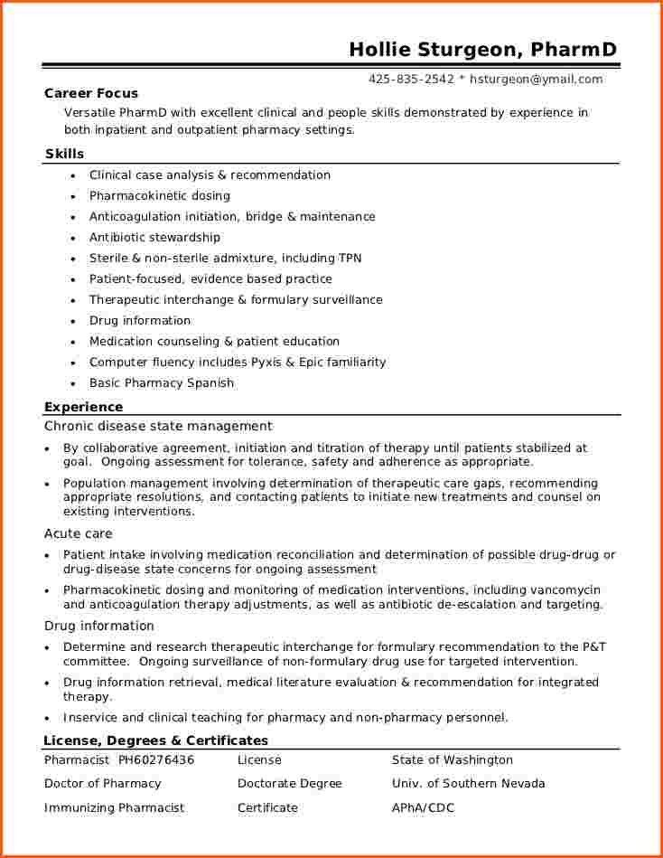 Best Resume Format Sample for Pharmacist Job Featuring Skills and ...