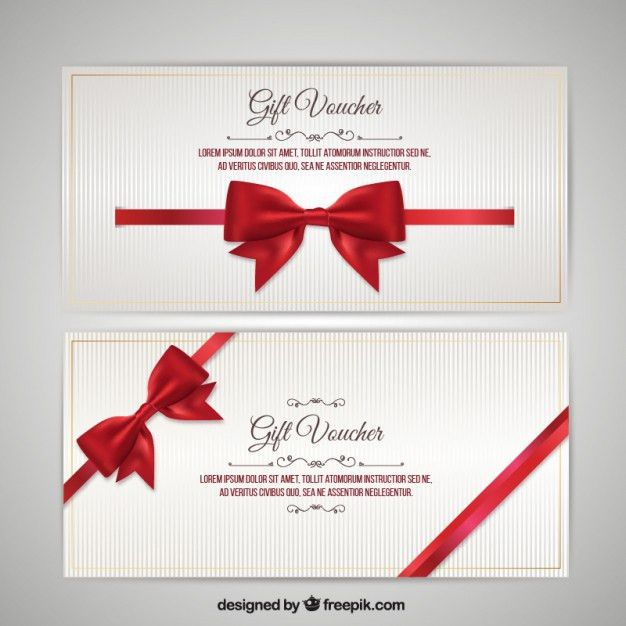 Christmas Voucher with Bow Pack Vector | Premium Download
