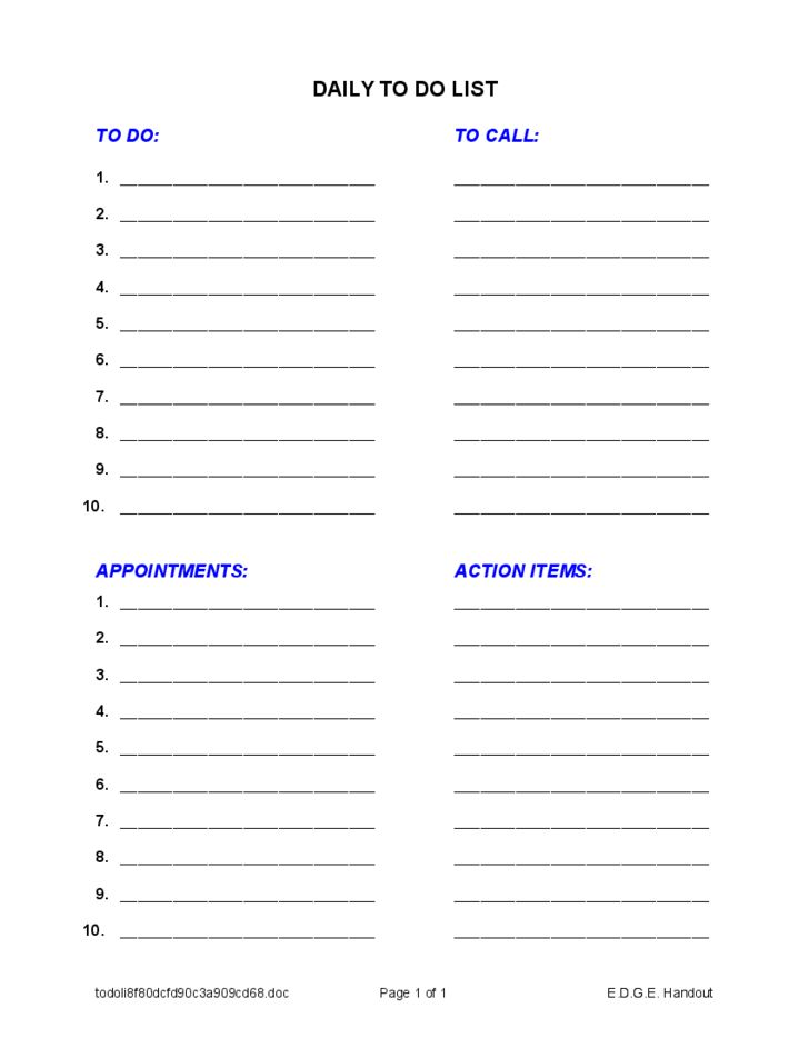 Sample Daily To Do List Free Download