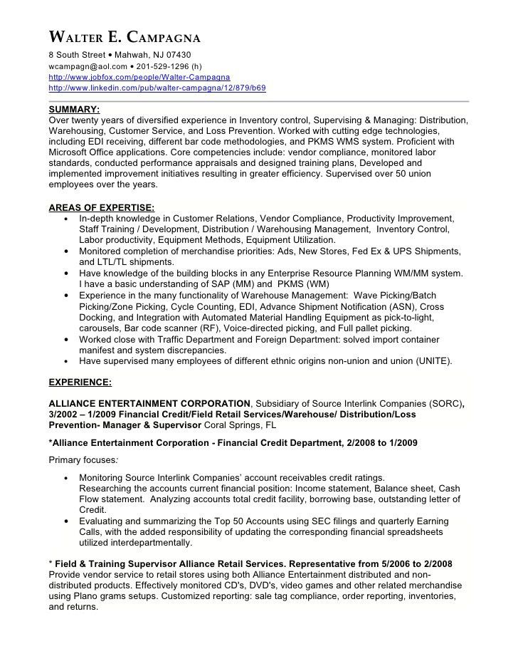 Walter Campagnas Excellent Resume With Finance Position Included