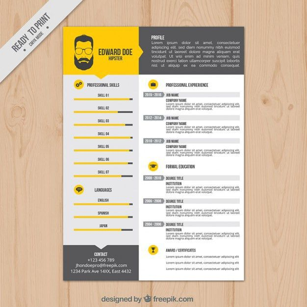 Yellow resume template Vector | Free Download