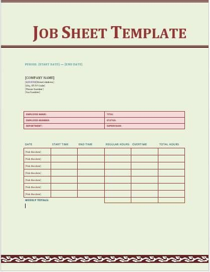 Jes TemplateJob Sheet Example. Sheet Template Construction Daily ...