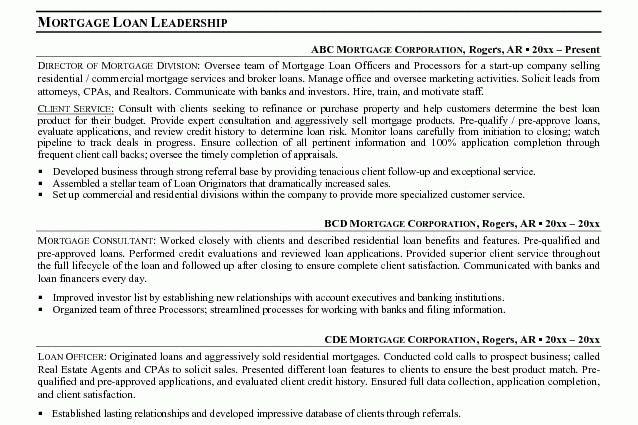 12 Mortage Loan Officer Resume Sample Originator Resume ...