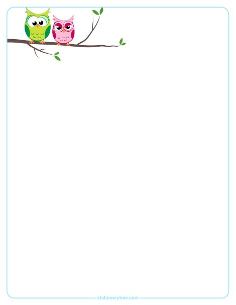 Owl stationery in three versions: blank stationery, lined ...