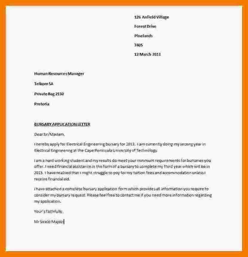 5+ example of motivation letter for bursary | mailroom clerk