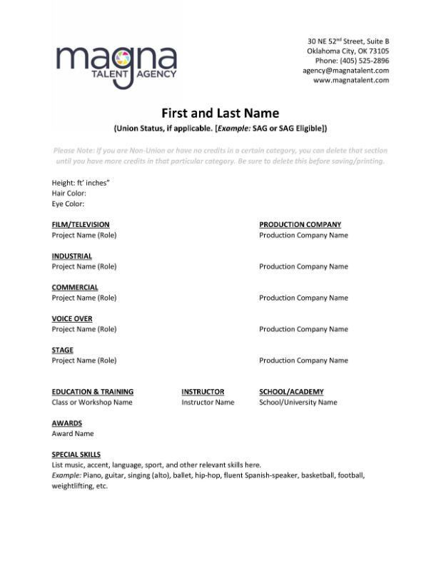 Resume Help - Magna Talent Agency