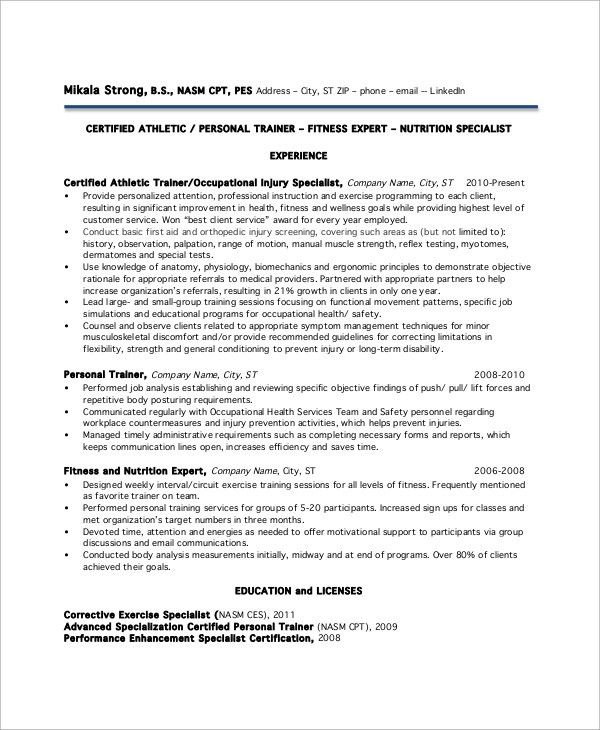 Sample Personal Trainer Resume - 9+ Examples in Word, PDF