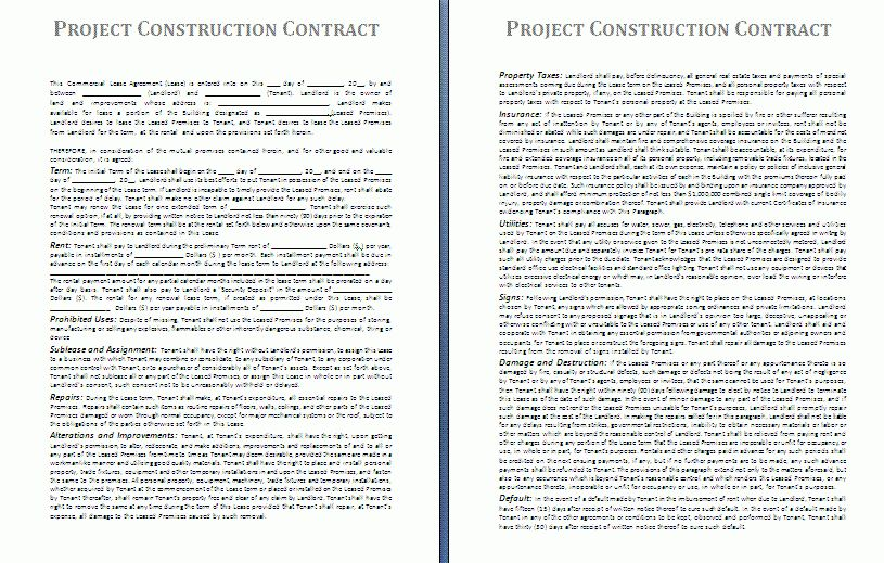 Project Construction Contract Template | Free Contract Templates