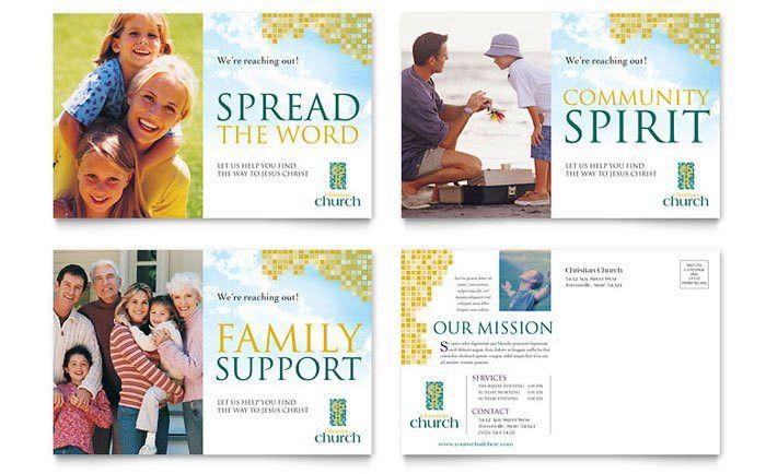Christian Church Postcard Template Design