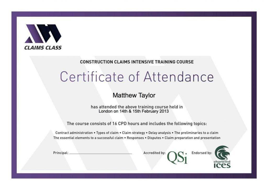 Certificate Of Attendance Template Free - Template Update234.com ...