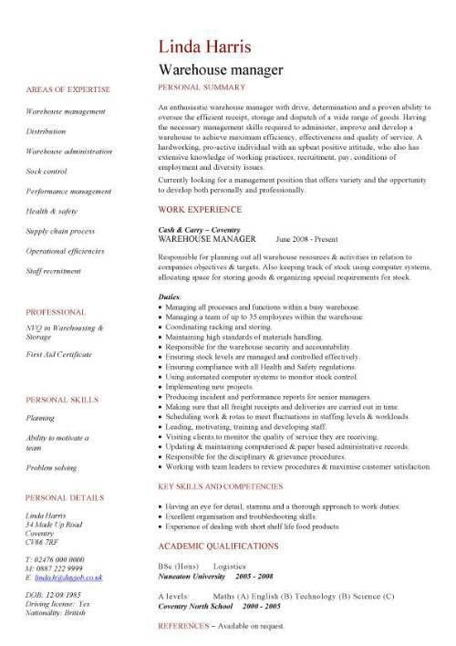 Download Warehouse Manager Resume | haadyaooverbayresort.com