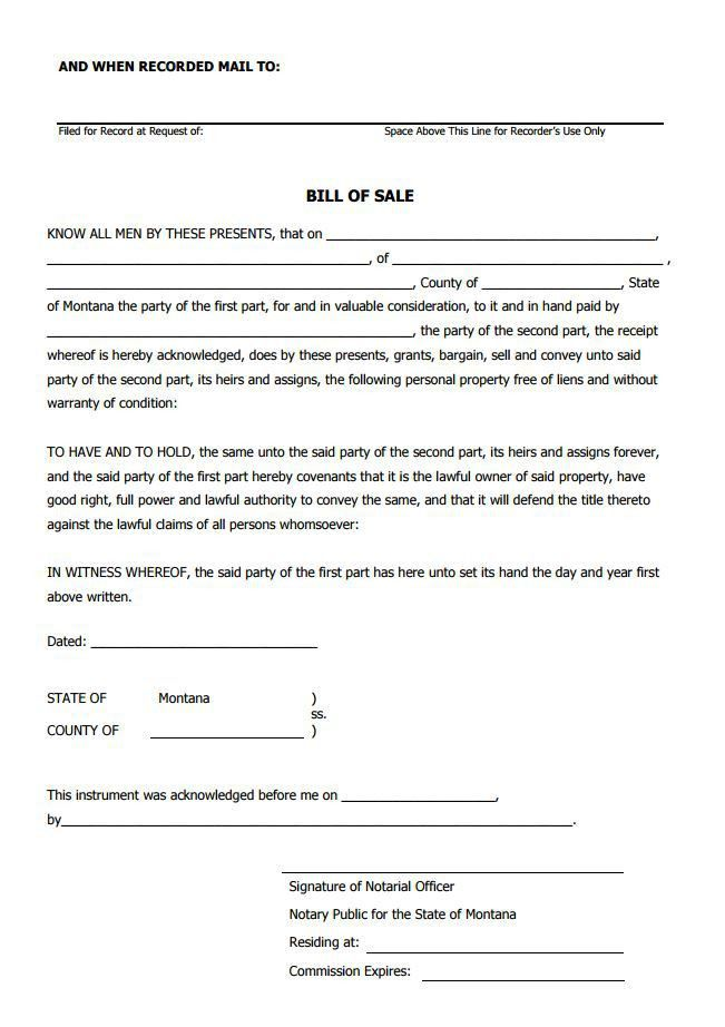 Free Montana Bill of Sale Form | PDF Template | Form Download
