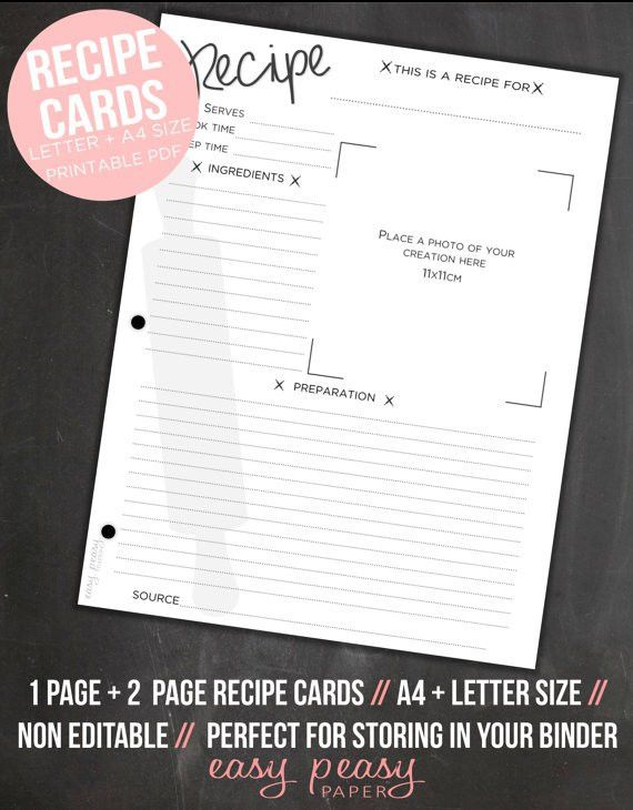 Recipe Cards // Printable Recipe Cards // A4 + Letter (8.5x11 ...