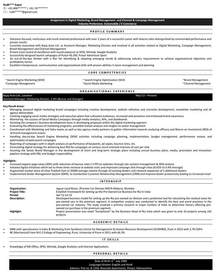 Digital Marketing Resume Samples | Sample Resume for Digital ...