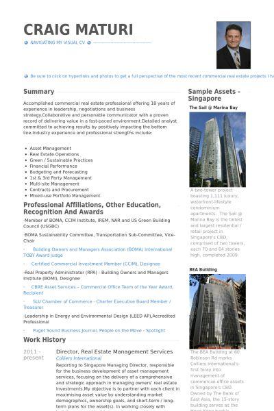 Real Estate Resume samples - VisualCV resume samples database