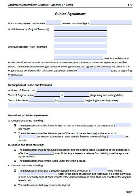 Free Wisconsin Sublease Agreement For – PDF Template