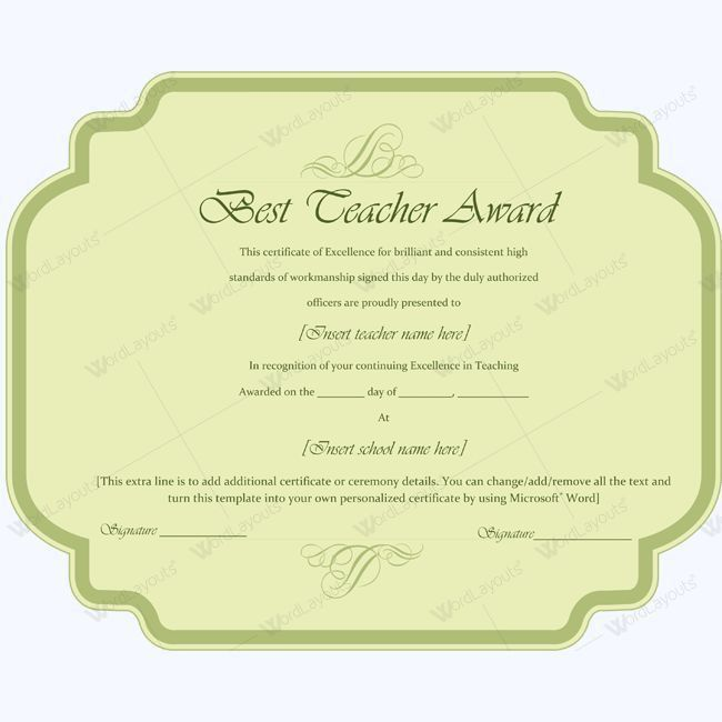 Best Teacher Award Certificate Template Word #award #certificate ...