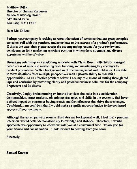 Sample Internship Cover Letter Example. Sample Professional Cover ...