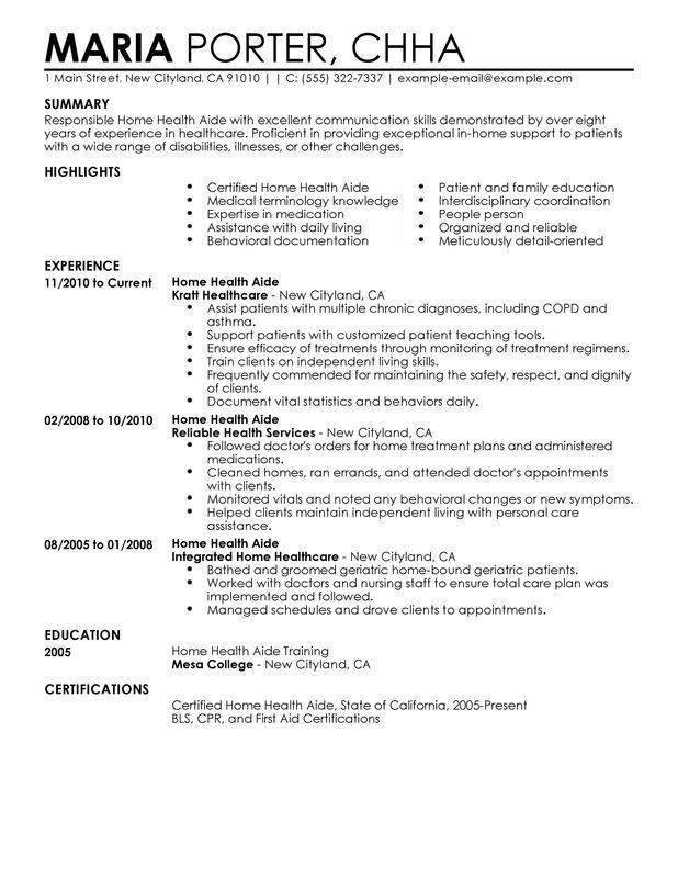 Unforgettable Home Health Aide Resume Examples to Stand Out ...