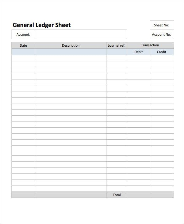 Account Ledger Template. Accounting Ledger Form Sample Accounting ...