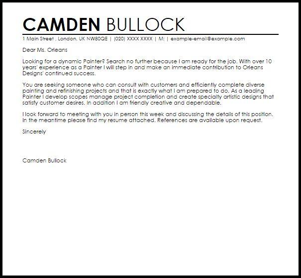 Painter Cover Letter Sample | LiveCareer