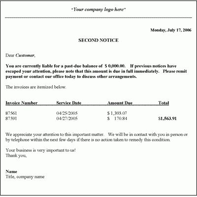 Collection Letter Template - Second Notice | Collection letter ...