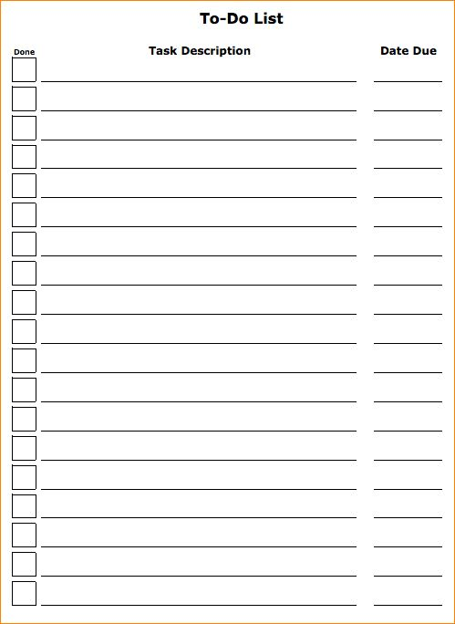 4+ to do list template | Outline Templates