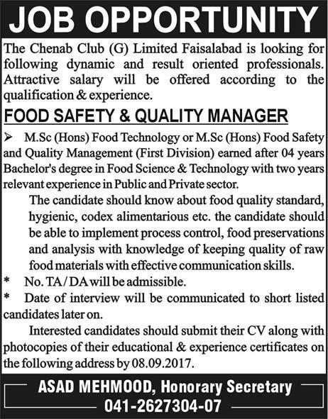 Food Safety And Quality Manager Jobs In The Chenab Club 2017