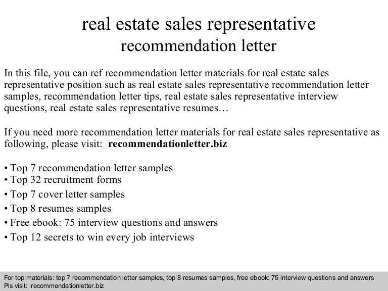 Real estate sales representative recommendation letter