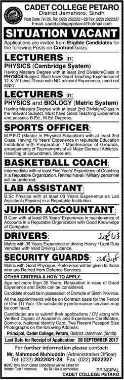 Lecturers, Sports Officer, Lab Assistant, Accountant Jobs In Cadet ...