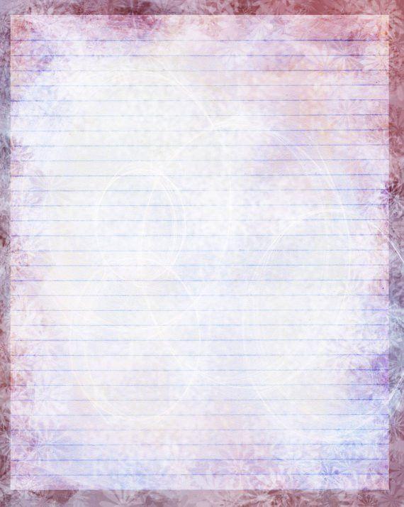 Printable Journal Page Pink Flower Digital Stationery Pink