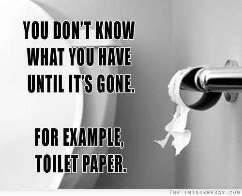 You don't know what you have until it's gone for example toilet paper