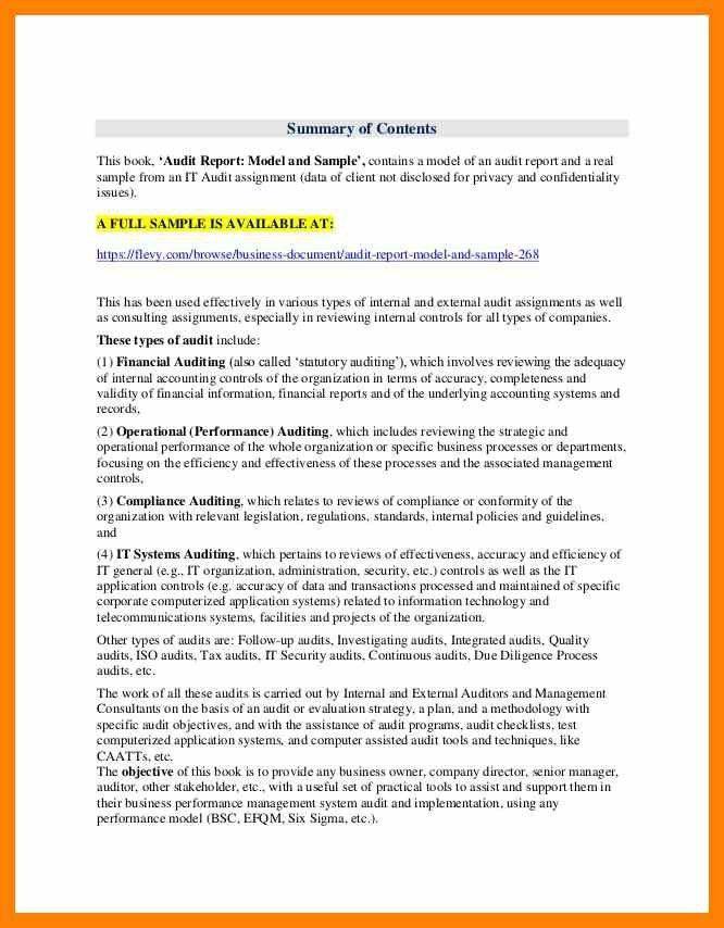 Audit Report Sample. Company Audit Memo Template Download Sample ...