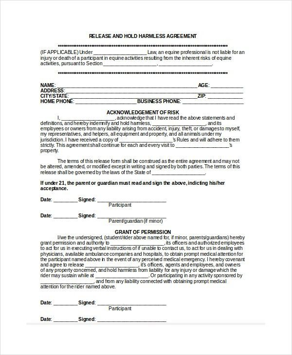 12+ Hold Harmless Agreements - Free Sample, Example, Format | Free ...