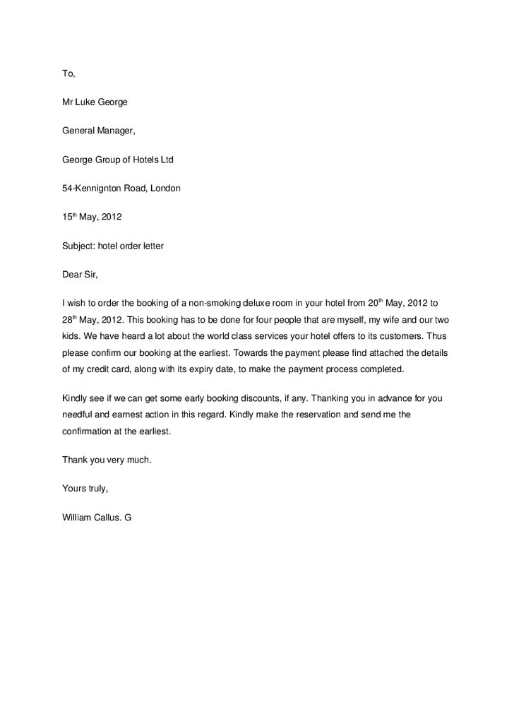 Hotel Reservation Letter - Hashdoc