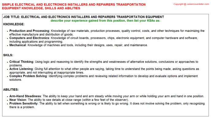 Electrical And Electronic Equipment Assembler Federal Resume KSA