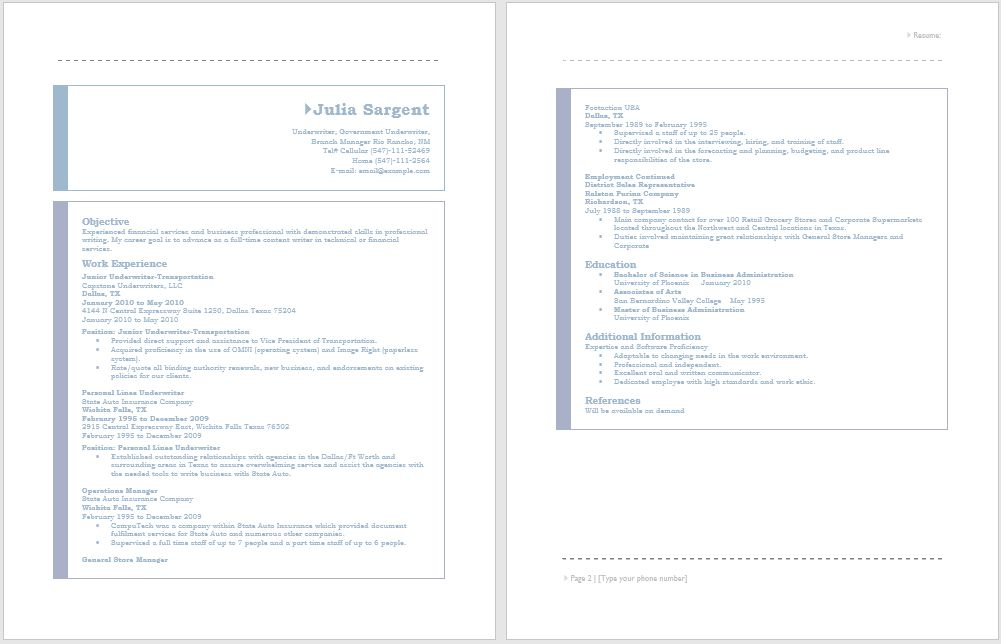 Junior Underwriter Resume – Sample Resumes
