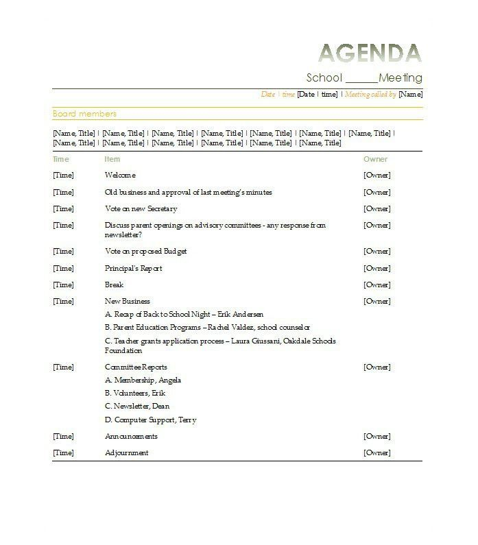 School Agenda Template. Agenda For High School Reunion 9+ Reunion ...