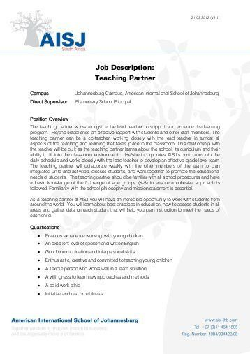 Job Description: Spanish Teacher, Pre-K – Grade 2 - American ...