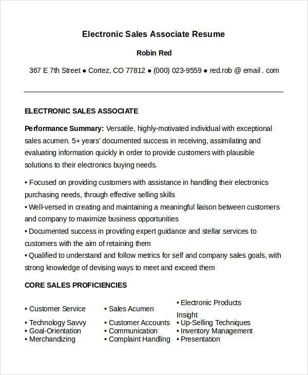 Sales Associate Resume Template - 8+ Free Word, PDF Document ...