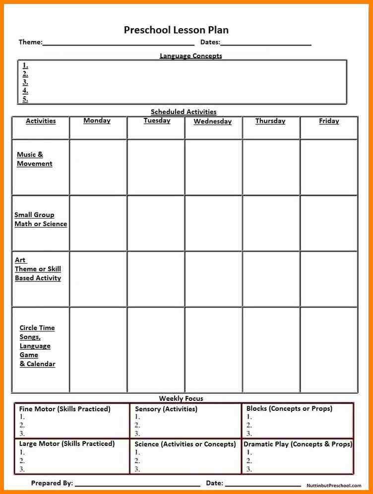 8+ lesson plan template preschool | resume language