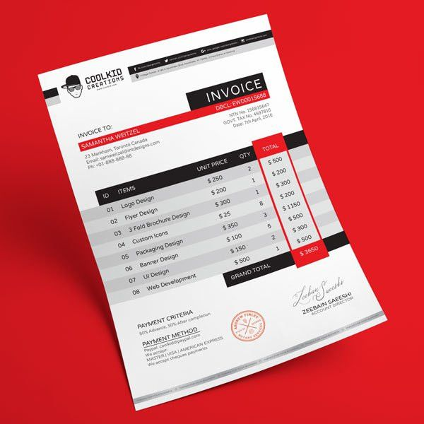 Top 10 Best Free Professional Invoice Template Designs in Ai & PSD ...