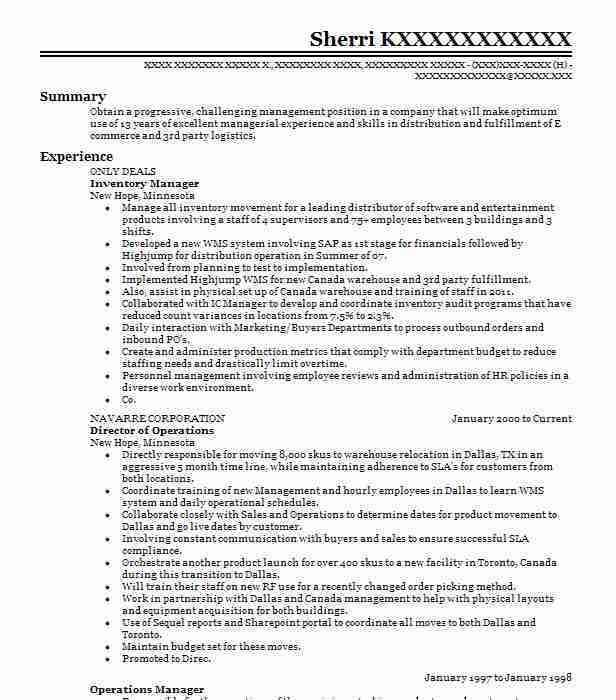 Best Inventory Manager Resume Example | LiveCareer