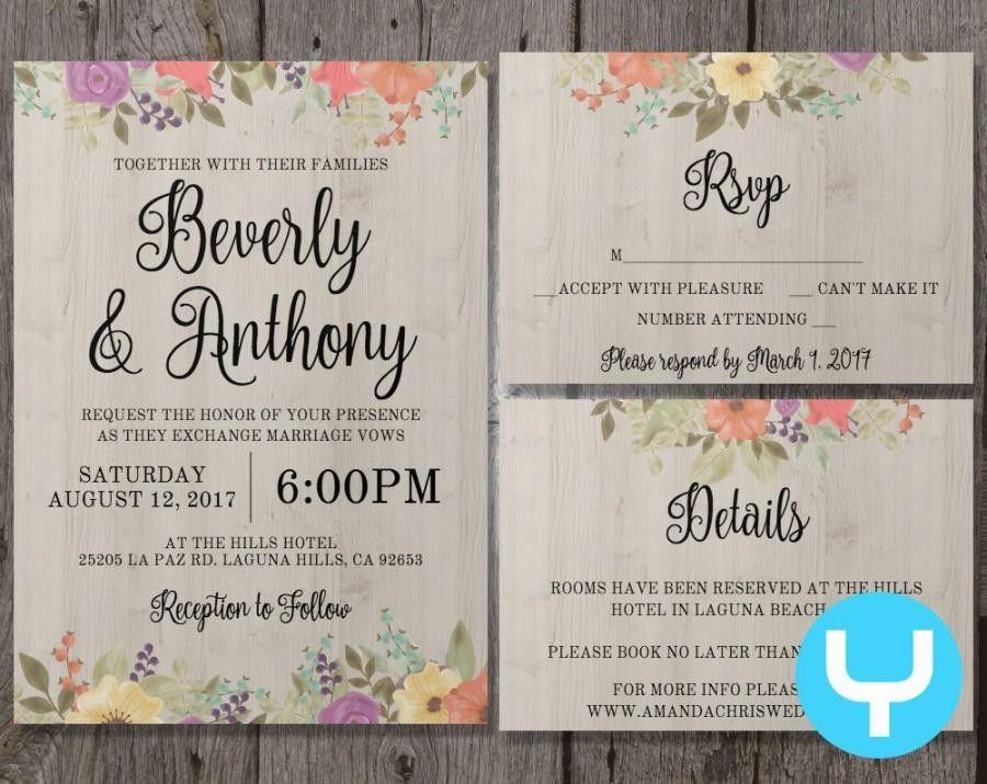 Printable Floral Wedding Invitation Template Set + RSVP, Details ...
