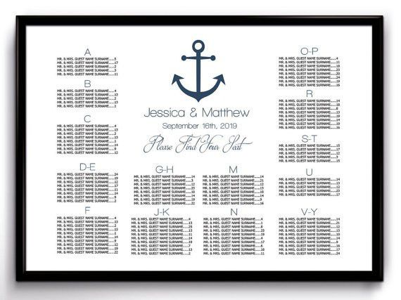 Nautical Wedding Seating Chart Poster Template Printable