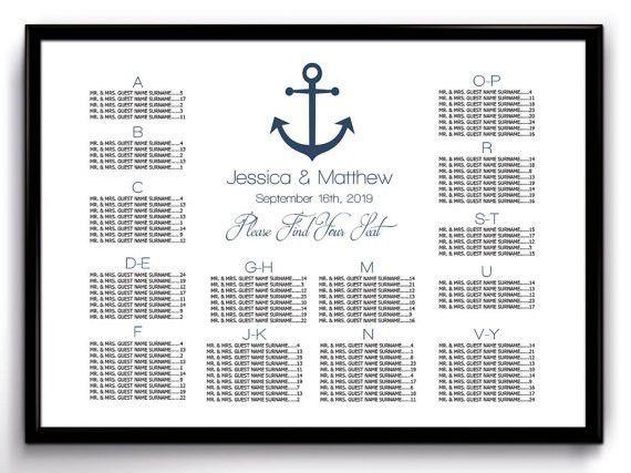 Nautical Wedding Seating Chart Poster Template Printable
