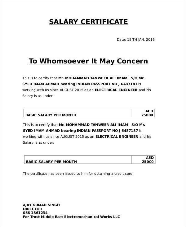 6+ Salary Certificate Examples, Samples