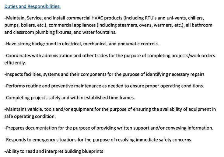 Duties and Responsibilities Resume Plumber - http://resumesdesign ...